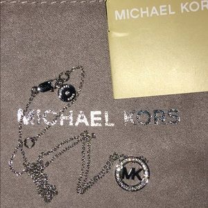 New Michael Kors MK Logo Disc Pendant Necklace